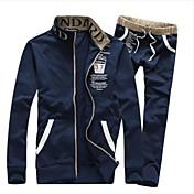 trajes de abrigo de manga larga de los deportes de los hombres de la impresión ocasional (color cremallera y cadena de color al azar)