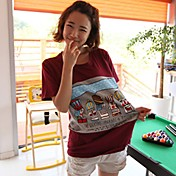 Patrón Ocio cuello redondo de la historieta de la Mujer Liuliu Camiseta de algodón