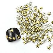 300PCS 3Dゴールデン五芒星合金ネイルアートゴールデン&シルバージュエリー