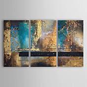 Pintada a mano Abstracto Horizontal Tres Paneles Lienzos Pintura al óleo pintada a colgar For Decoración hogareña