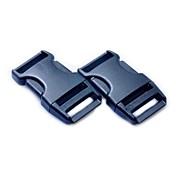 Equipaje correa de la correa del clip plástico del lanzamiento del lado Buckles - Negro (2-Piezas Pack)