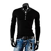 lesen moda cuello v botones delgados de los hombres decoración ocasional cepillado de manga larga prendas de punto o