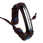 Herre ID Armbånd Inspirerende Indledende smykker Europæisk Læder Legering Smykker Brun Smykker For Daglig 1 Stk.