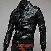 charelsメンズ因果スタンドカラーの革の衣類のジャケット