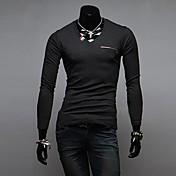 Camiseta De los hombres Un Color-Casual-Mezcla de Algodón-Manga Larga