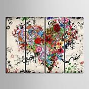 lienzo conjunto Abstracto Floral/Botánico Clásico Modern,Cuatro Paneles Vertical lámina Decoración de pared For Decoración hogareña
