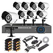 ホームセキュリティシステム16CH H.264 DVRキット(8個入り700TVL IR-カット屋外の防水カメラシステム、HDMI、USB 3G無線LAN)