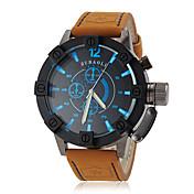 JUBAOLI 男性 軍用腕時計 リストウォッチ クォーツ レザー バンド カーキ