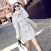 女性のホットダブルブレストウール長袖の上着をブレンド