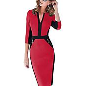 女性のラウンドネックのボディコン弾性ドレスはメロス