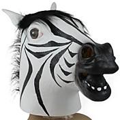 ハロウィーン仮装パーティー用のゼブラヘッドラテックスマスク(1個)