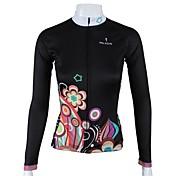 ILPALADINO Maillot de Ciclismo Mujer Manga Larga Bicicleta Camiseta/Maillot Tops Secado rápido Transpirable 100% Poliéster Flores /