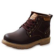 Hombre Zapatos Cuero Primavera Verano Otoño Invierno Confort Botas Botines/Hasta el Tobillo Con Cordón Para Casual Negro Marrón