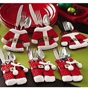 6 Pcs/Set Christmas Santa Silverware Holders Pockets Dinner Decor