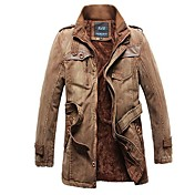Men's Fashion And Cashmere Thermal Long Sections of Cotton Washing Male Cotton Windbreaker Jacket Cowboy Coat