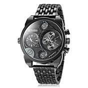 Oulm 男性 軍用腕時計 リストウォッチ 2タイムゾーン クォーツ 日本産クォーツ ステンレス バンド ラグジュアリー ブラック ブラウン ブロンズ