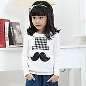 Camiseta Chica deEstampado-Algodón-Invierno / Primavera / Otoño-Blanco / Gris