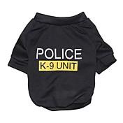 Gatos / Perros Camiseta Negro Ropa para Perro Verano Letra y Número / Policía/Militar Moda