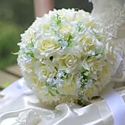ウェディングブーケ ラウンド型 バラ ブーケ 結婚式 シルク 9.84inch(約25cm)
