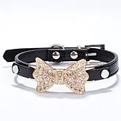 猫用品 / 犬用品 カラー ラインストーン レッド / ブラック / ブルー / ピンク / ゴールド / シルバー / ローズピンク PUレザー