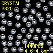 1440pcs 4.6〜4.8ミリメートルホワイトカラーグリッター売春水晶ラインストーンネイルアートの装飾