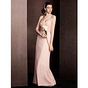 vaina / columna correas de espagueti longitud del piso de seda vestido de dama de honor con draping ruching by lan ting bride®