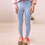 Pantalones Chica deA Rayas-Mezcla de Algodón-Primavera / Otoño-Azul / Oro