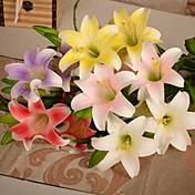 1pcs flores artificiales lirio pu 5 cabezas para la decoración del hogar del banquete de boda