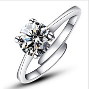 ステートメントリング 婚約指輪 幸福 調整可能 ファッション オープン クラシック 純銀製 イミテーションダイヤモンド 4本爪 シルバー ジュエリー のために 結婚式 パーティー 婚約 日常 カジュアル 1個