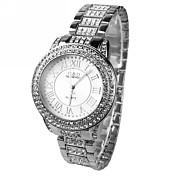 女性用 ドレスウォッチ 模造ダイヤモンド クォーツ 合金 バンド 光沢タイプ シルバー