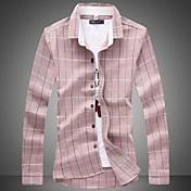 Camisa De los hombres A Cuadros Casual / Tallas Grandes-Mezcla de Algodón-Manga Larga-Rosa / Gris