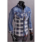 larga tela de mezclilla de la manga camisa regular de los hombres (de algodón)