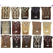 20 'clips' 7pcs en las extensiones de cabello humano 70g para hairsalon la belleza de la mujer en muchos colores de moda disponibles