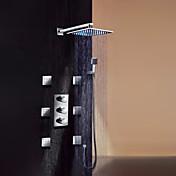 コンテンポラリー 壁式 レインシャワー ハンドシャワーは含まれている 組み合わせ式 サーモスタットタイプ LED with  真鍮バルブ 3つのハンドル9ホール for  クロム , シャワー水栓