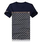 Camiseta De los hombres Estampado-Casual-Algodón-Manga Corta-Azul / Rojo / Blanco
