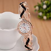yoonheel 女性用 ファッションウォッチ リストウォッチ ブレスレットウォッチ ダミー ダイアモンド 腕時計 模造ダイヤモンド クォーツ 金属 バンド 光沢タイプ エレガント腕時計 ブラック 白 ブルー レッド パープル
