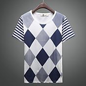 Camiseta De los hombres A Rayas-Casual-Algodón / Mezcla de Algodón-Manga Corta-Azul