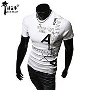 男性用 プリント カジュアル Tシャツ,半袖 コットン混,レッド / ホワイト / グレー