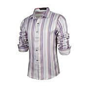 MEN カジュアルシャツ ( コットン/ライクラ/ポリエステル ) カジュアル/パーティー/仕事 ワイシャツカラー - 長袖