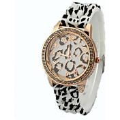 女性のヒョウダイヤモンドゴムバンドの腕時計