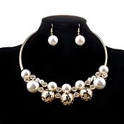ジュエリーセット ネックレス/イヤリング ファッション 高級ジュエリー ホロー 真珠 人造真珠 模造ダイヤモンド 合金 ゴールデン ネックレス イヤリング・ピアス のために 結婚式 パーティー 日常 カジュアル 1セット ウェディングギフト