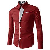 男性用 プレイン カジュアル / プラスサイズ シャツ,長袖 コットン混 ブラック / ブルー / レッド / ホワイト / グレー