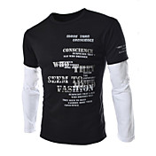 MEN Tシャツ ( コットン/コットンブレンド/ポリエステル ) カジュアル ラウンド - 長袖