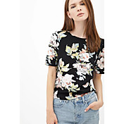 婦人向け カジュアル/普段着 夏 ブラウス,シンプル クルーネック プリント ブラック 半袖 ミディアム