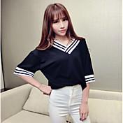 婦人向け カジュアル/普段着 夏 Tシャツ,シンプル ストライプ ホワイト / ブラック / グレイ コットン 半袖 ミディアム