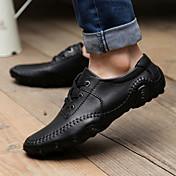 Hombre Zapatos Cuero Primavera Verano Otoño Invierno Confort Oxfords Con Cordón Para Casual Negro Marrón