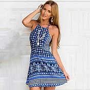 婦人向け オフショルダー/ホルター バックレス ドレス , コットン/その他 膝上 ノースリーブ