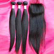 venta caliente 12-26inch brasileño haces de pelo virgen con cierre