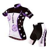 WOSAWE Maillot de Ciclismo con Shorts Mujer Manga Corta Bicicleta Shorts/Malla corta Pantalones Cortos Acolchados Camiseta/Maillot Sets