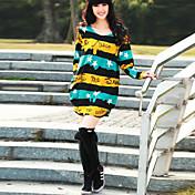 婦人向け ラウンドネック フリル ドレス , コットン / ポリエステル 膝上 長袖
